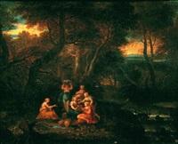 une assemblée de sept femmes vêtues à l'antique sur la berge d'une rivière en forêt by gabriel allegrain