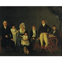 portrait of a family in an interior by césaire quillier
