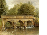 washerwomen in a river before a bridge by jean victor bertin