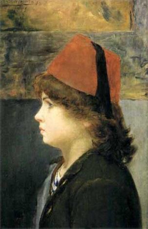 enfant de profil coiffé dun fez by alberto valenzuela llanos
