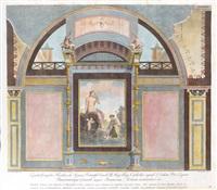 venus und amoretten an einem teich: paar wanddekorationen nach anton raphael mengs römischen fresken in der villa negroni (pair) by angelo campanella
