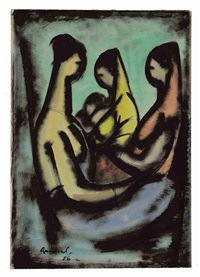 untitled (mother and child with attendants) by kamrul hasan