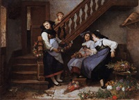 preparing the garlands by camille alfred pabst