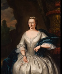 portrait of an elegant woman in a white dress wearing a blue stole and a red carnation in her hand by tiebout regters