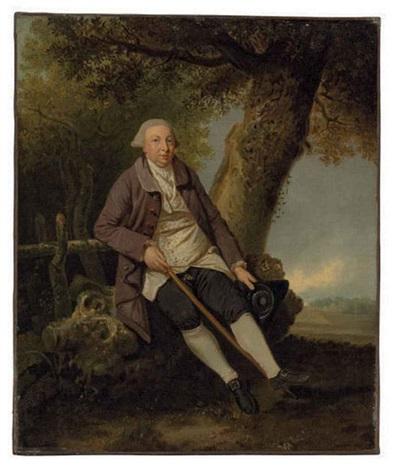 portrait of thomas bradshaw esq junior secretary to the treasurer in a wooded landscape by johann joseph zoffany