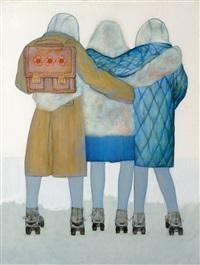deux dos enlacés - trois fillettes sur patins by dai haiying