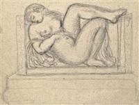 nu allongé ( dbl-sided sketch) by aristide maillol