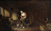 the interior of a cottage, with a peasant woman cleaning kitchen utensils, a peasant coming up from the cellar on her left by philips angel