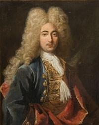 portrait d'homme au gilet de brocart d'or et à la veste bleu by gilles allou