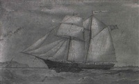 the two masted topsail schooner carrie bell by joseph semple