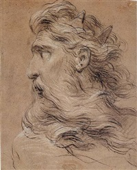 head of neptune turned in profile by francois le moyne