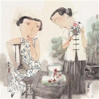 消夏图 镜框 设色纸本 (figure) by ma xiaojuan
