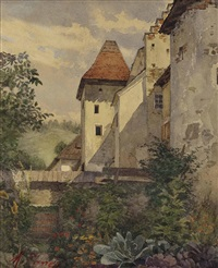 burgmauern mit turm und bauerngarten by marie egner