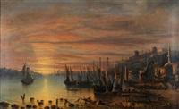 coucher de soleil sur le bosphore by frederic hugo d' alesi