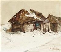 winterlandschaft mit hütte by walther gabler