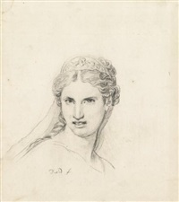 study of a woman, head and shoulders, wearing an antique diadem by jacques-louis david