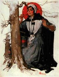 woman pauses to taste maple syrup by elbert mcgran jackson