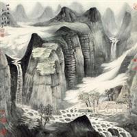 幽居鸣泉图 by zeng xianguo