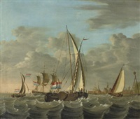 shipping on choppy waters near the coast with a village beyond by nicolas baur