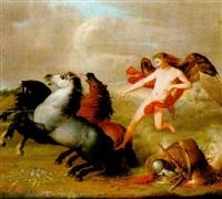 fredens genie, körande sina hästar vid en blomsterrik äng by lars huck hultgren