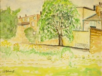 houses and trees in a landscape by avraham melnikov