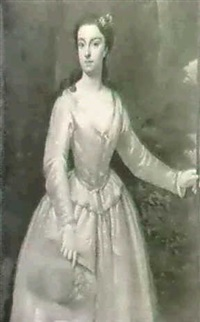 portrait of a lady, said to be the countess of aylesbury,  three quarter length, wearing a white silk dress... by dahl