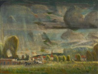 thunderstorm over pasture by joseph amadeus fleck