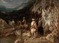 orientalische karawane in felsiger landschaft by leon jean-baptiste sabatier