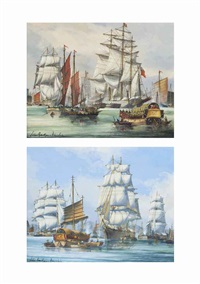 loading tea, whampoa; ariel, other tea clippers and chinese junks in the harbour at foochow (both illustrated) (pair) by john bentham-dinsdale