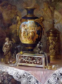 an ornamental urn, a jewellery box and jewels on a silk draped table by ludwig augustin