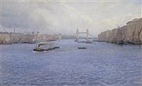 barges on the thames at tower bridge by albert george adams