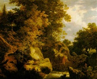 a wooded rocky river scene with two sportsmen by william ashford