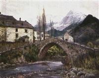 puente viejo junto al pueble by antonio iglesias sanz