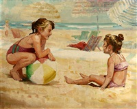 two children on a beach by peter adams