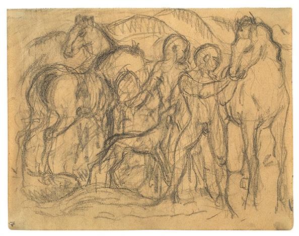 knaben mit pferden und hund by franz marc