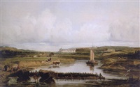 an extensive river landscape with a view of the château d'amboise by victor marie felix danvin