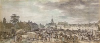 the crowded market square of a town in northern france by jean-baptiste (louis) le paon