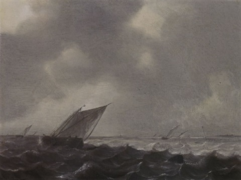 a boeier and other sailing vessels in a stiff breeze on the zuiderzee by hendrick van anthonissen