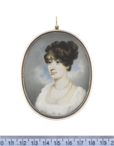 a lady wearing white dress with frilled trim to her décolleté double stranded gold necklace her dark hair curled and upswept by george chinnery
