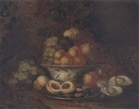 grapes, peaches and a pomegranate in a blue and white porcelain bowl with peaches and shrimps in a pewter plate on a forest floor with grapes, oysters and a snail by thomas mertens