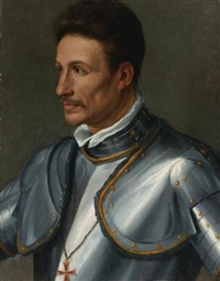 portrait of a knight wearing the cross of the order of saint stephen by alessandro di cristofano allori