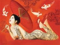 gadis dan ikan koi (lady with koi) by wahyu srikaryadi