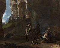campement de bohémiens dans des ruines romaines by johannes lingelbach
