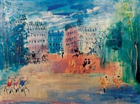 paris street scene by jean dufy