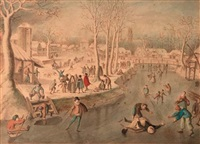 scaters and other figures on frozen water, a village in the distance by anthonie van stralen