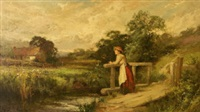 girl leaning on a stile by john horace hooper