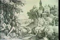 hirtengruppe in einer landschaft - shepherds in a landscape (1515) (hind v, 196, 6; borenius 16) by giulio campagnola