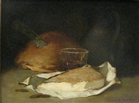 bread, wine and cheese by philippe rousseau