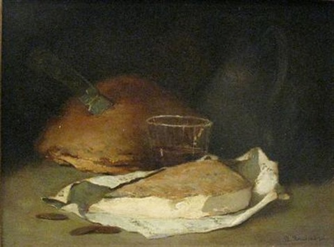 bread wine and cheese by philippe rousseau