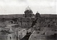 four architectural views at pattadakal (from architecture in dharwar and mysore; 4 works) by thomas biggs